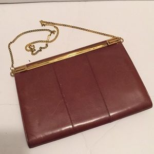 Vintage leather clutch with chain strap Tan color